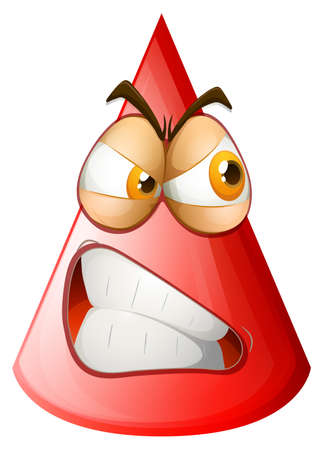 red eye: Angry face on cone illustration