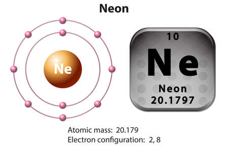 electron: Symbol and electron diagram for Neon illustration Illustration