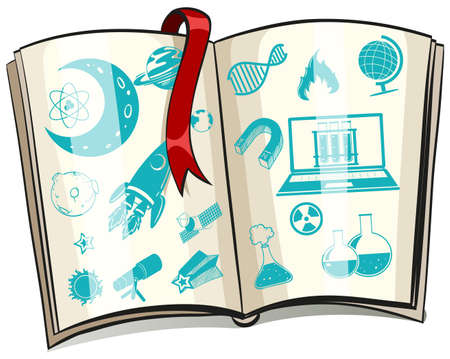lab test: Science symbol on a book illustration