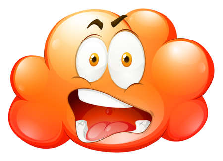 express feelings: Orange cloud with face illustration