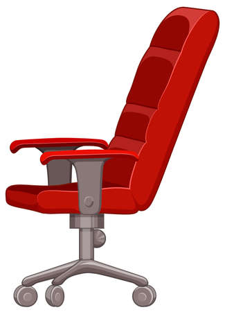 movable: Red computer chair with wheels illustration
