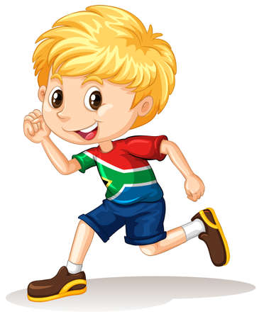 south african: South African boy running illustration Illustration