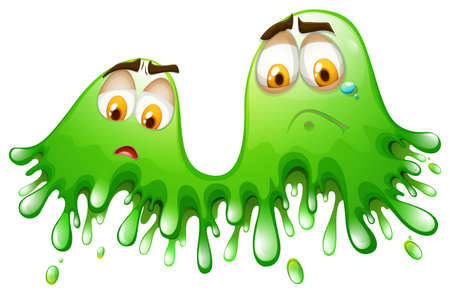 green face: Green splash with face illustration Illustration