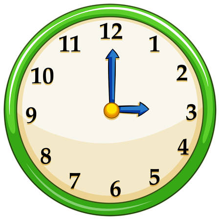 Round clock with green frame illustration