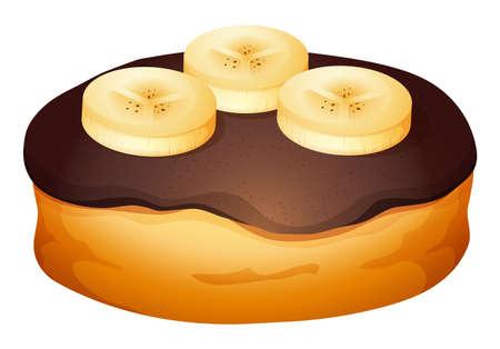 banana bread: Doughnut with chocolate and banana topping illustration Illustration