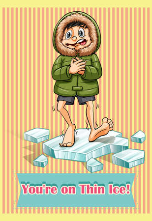 idiom: Idiom on thin ice illustration