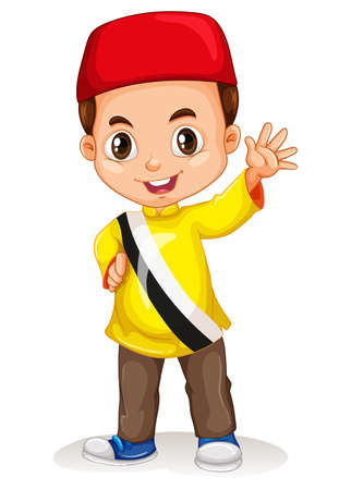 nationalities: Brunei boy smiling and waving illustration