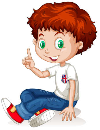 international students: English boy with red hair illustration