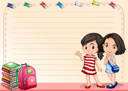 school girl: Line paper with girls and books illustration Illustration