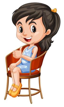 의자 그림에 앉아 어린 소녀 일러스트