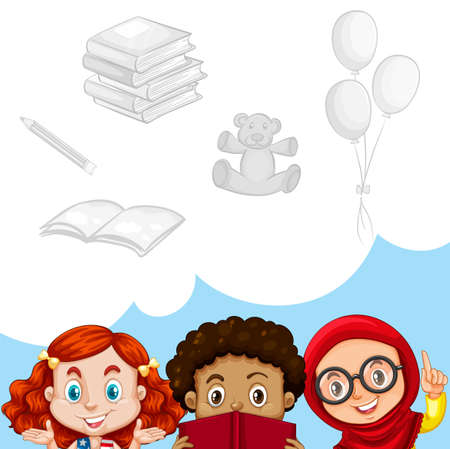 toys clipart: Children and other objects illustration