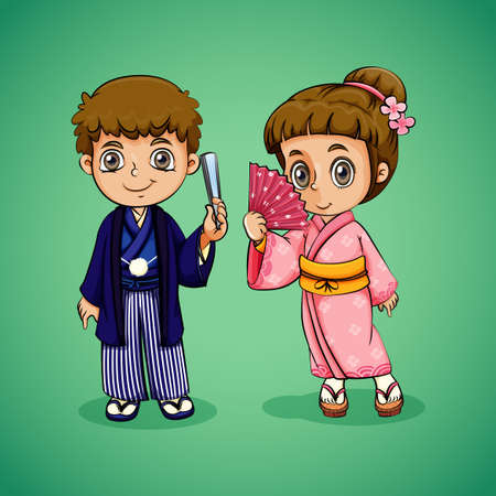 nationalities: Japanese boy and girl illustration