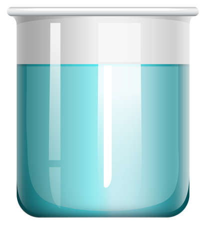 Blue liquid in glass beaker illustration