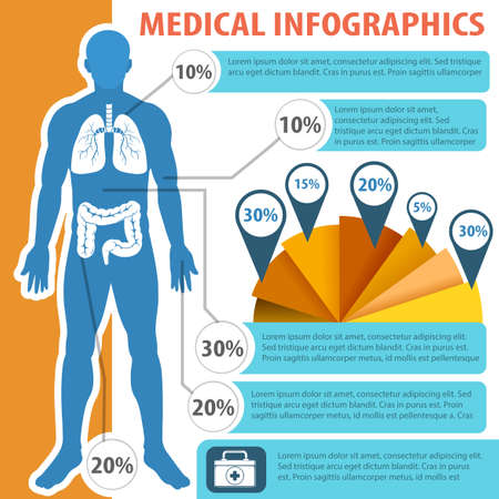 numbers clipart: Medical infographic with human anatomy illustration Illustration