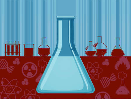 biology lab: Glass beaker and other containers illustration Illustration