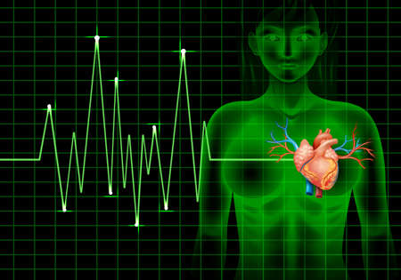 beating: Heartbeat of human and graph illustration Illustration