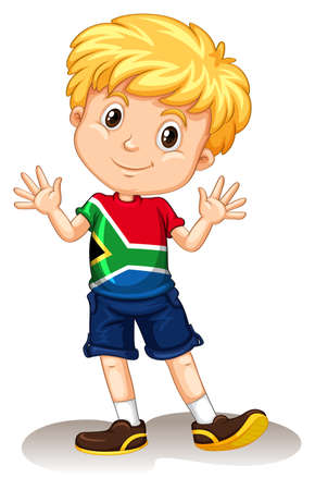 South Africa boy waving and smiling illustration