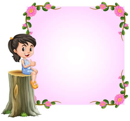 flower border: Asian girl and pink border with flowers design illustration
