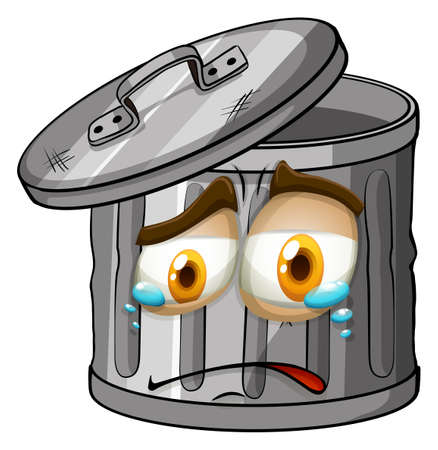 trashcan: Trashcan with crying face illustration