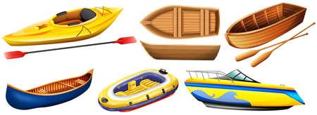 rowboat: Different kind of boats illustration