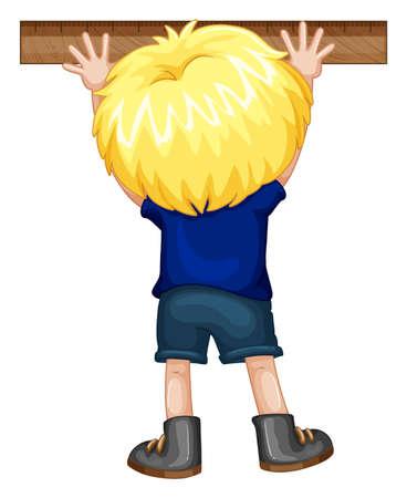 measuring: Boy mearsuring with ruler illustration Illustration