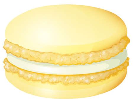 macaron: Yellow macaron with cream illustration