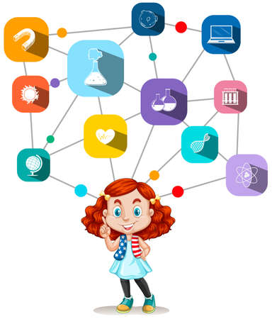 framework: Girl with science icons diagram illustration