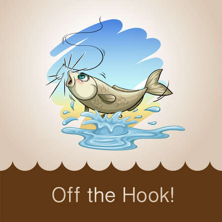 cartoon fish: Old saying off the hook illustration