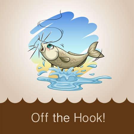 peces caricatura: Viejo refrán de la ilustración de gancho Vectores