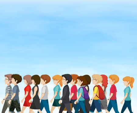 adolescent: Group of people walking at daytime illustration Illustration