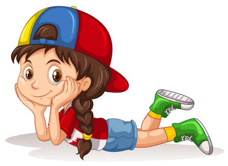 Canadian girl relaxing alone illustration