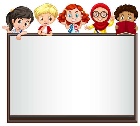 brunei: International children on whiteboard illustration Illustration