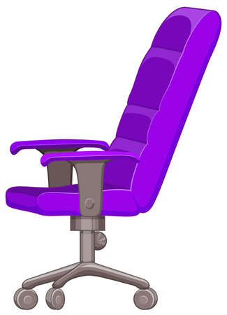 computer chair: Purple computer chair with wheels illustration