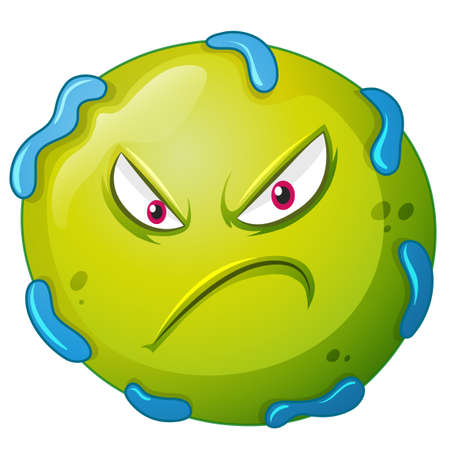 bacteria: Bacteria with angry face illustration