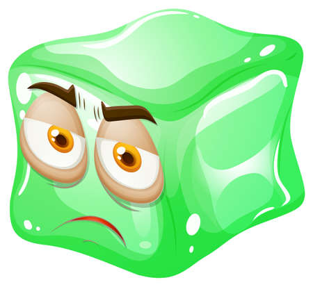 green face: Green cube with face illustration