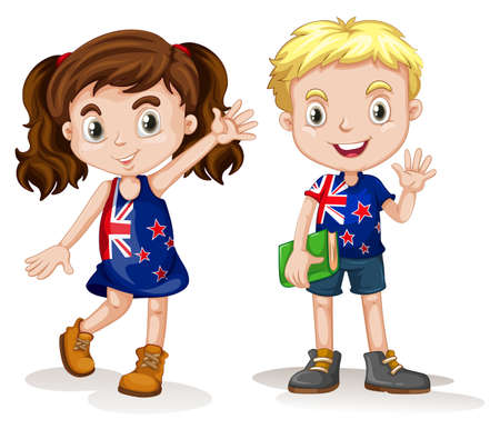 British boy and girl greeting illustration