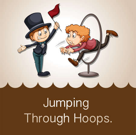 idiom: Idiom jumping through hoops illustration