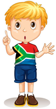 south african: South African boy pointing his finger illustration