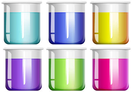 yellow lab: Liquid substance in glass beakers illustration