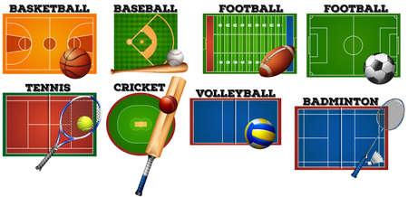 feild: Sport courts and equipment illustration Illustration