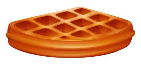 Piece of waffle on white illustration