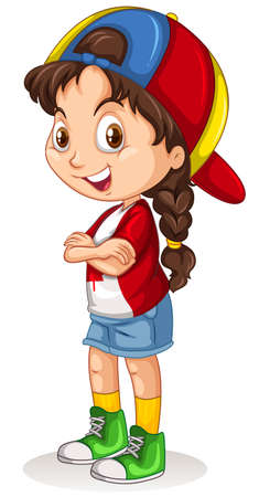 child girl: Canadian girl with a cap standing illustration