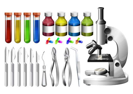 packaging equipment: Medical equipment and containers illustration