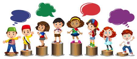 brunei: International children standing on log illustration