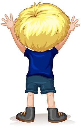 Zurück von einem kleinen Jungen mit blonden Haaren Illustration Standard-Bild - 45521615