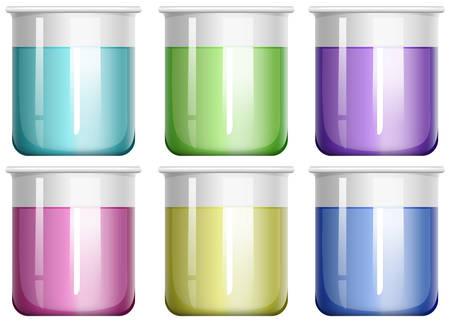 Liquid mixture in glass beaker illustration
