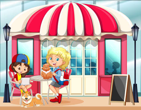 hanging out: Children hanging out at the cafe illustration