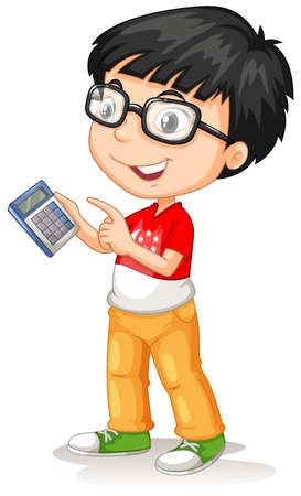 happy asian people: Little asian boy using calculator illustration Illustration
