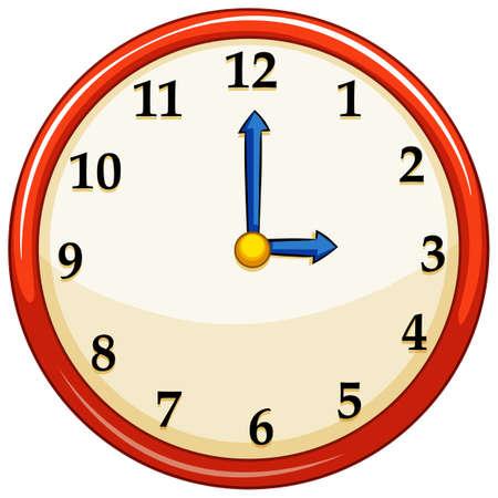 o'clock: Round clock with red frame illustration Illustration