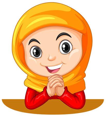 head scarf: Muslim girl with head scarf praying illustration